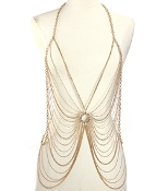 Body Chain - Rhinestone Circle - Gold