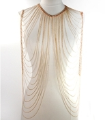Body Chain - Double Drape Front - Gold